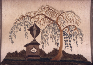 "Rectangular embroidered picture showing a tomb or memorial inscribed ""RMG"" under the shade of a willow. Embroidered in multi-colored silk on cream silk satin. Heavy chenille yarn is used for the grass. From the Balch School in Providence(?)."