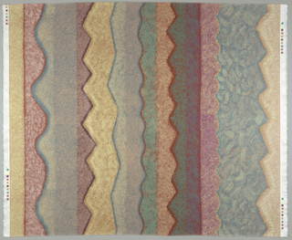 Vertical stripes with zigzag and wavy edges in browns, golds, purples and blues printed on white.