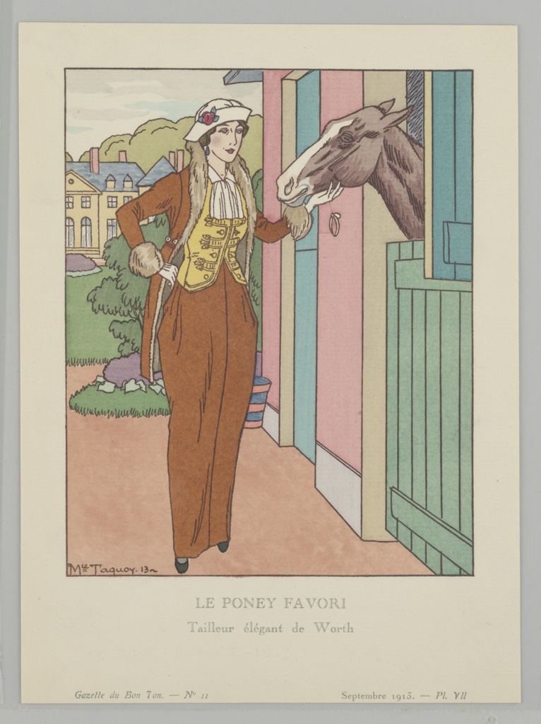 In an exterior scene, a woman stands near stables with her horse; a large yellow house sits in the background. She wears a matching chesnut-colored floor-length skirt and fur-trimmed coat, over a yellow tailored vest and white ruffled chemise. Atop her head sits a white brimmed hat with rose detail. The image is framed in a dark brown border and is captioned beneath.
