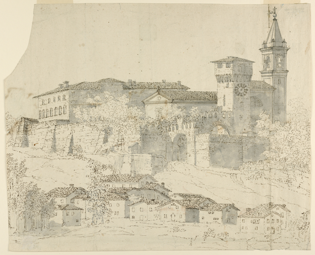 Horizontal format view of a church and a villa in the precinct of a fortified castle and a group of houses at their foot in the foreground. Verso: a part of an architectural plan.