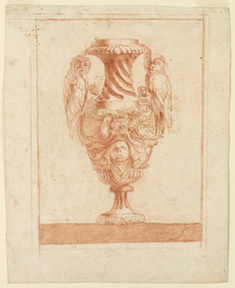 Elevation of a vase decorated with two owls and the head of a woman. Vase stands on a cracked marble ground.