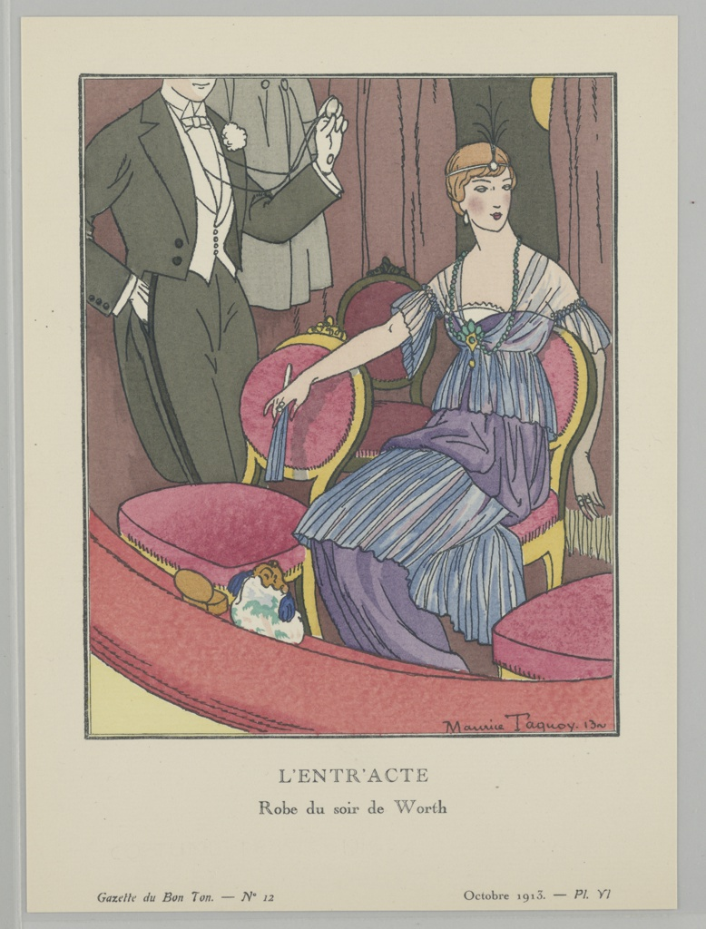 In a theater, a woman sits in an opera box wearing a sheer-shouldered blue and purple tiered evening dress by House of Worth; in her hand she holds a blue fan, and she also wears a beaded necklace and feathered headpiece. Her purse is resting on the edge of the balcony. At left, a male figure stands behind his chair in a tuxedo hodling out his pocket watch and looking at the time.