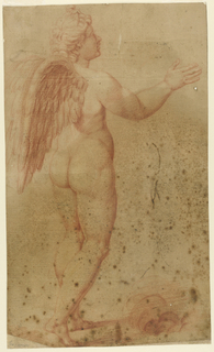Standing figure of cupid facing right.