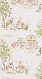 Children or boys' paper with two alternating Western vignettes. One scene of cowboys on horses at water trough, and the other shows a main street featuring the Emporium and a stagecoach. Printed in pink, green, turquoise, lime green and brown on a cream ground.