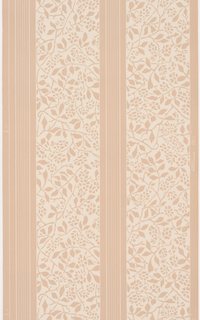 Floral stripe of large white stripe with tan vines and tan stripe with thin white lines on a tan ground.