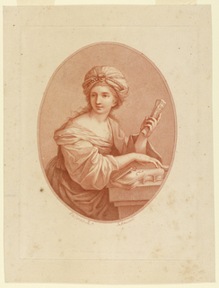 A woman sits at a table, turned to the right but facing slightly left. A violin is beneath her right hand, and a sheet of music in her left.