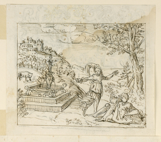 Pyramus sits in the lower right corner, under a tree. Thisbe beside a fountain at left, with a dagger to her breast. Town visible in background at left.
