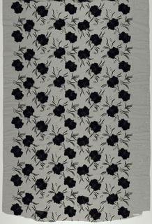 Black velvet flowers appliqued on black net.