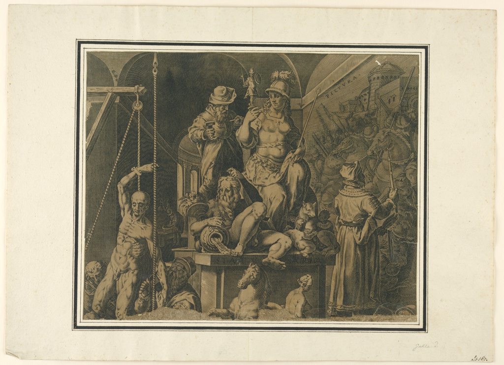 Print, The Practitioners of the Visual Arts (upper half of torn sheet), 1578