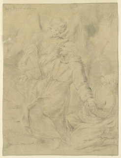 St. Francis is seen kneeling, facing one-quarter left; his right arm is supported by an angel, while another grasps his left wrist.