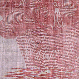 Composed of seven scenes of allegorical subjects. Figures in classical dress and devils and angels among clouds. Printed in red on white.