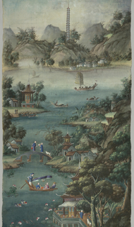 Landscape and water scenes with people and animals painted in color on an open weave foundation.