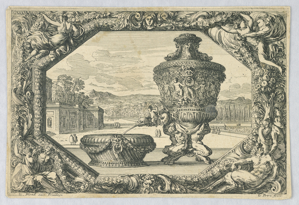 """Print, An Urn and Bowl in Eschutcheon, from """"Fontaines, Cuvettes et Cartouches"""""""