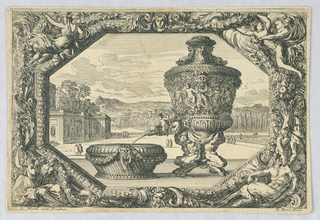 "Print, An Urn and Bowl in Eschutcheon, from ""Fontaines, Cuvettes et Cartouches"""