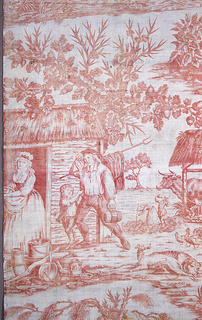 Textile printed in red on white background showing four vignettes of country scenes with people and their  virtues.