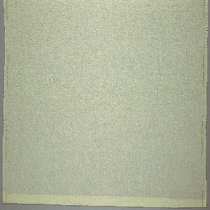 Cream-colored fabric with puckers in vertical stripes and intended for window fabric.