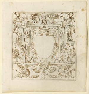 Strapwork with bears and satyrs frames a blank shield.