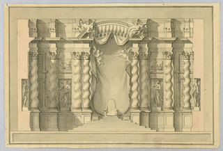 At the center, a chair stands on a stepped dais. Above, four putti hold drapery. Four solomonic columns on either side, interspaced with figural sculpture.