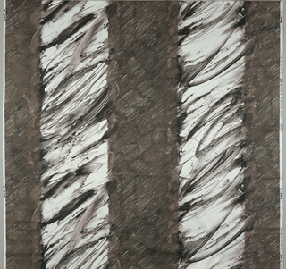 Wide vertical stripes of brushy, watercolor and crayon strokes in dark brown.