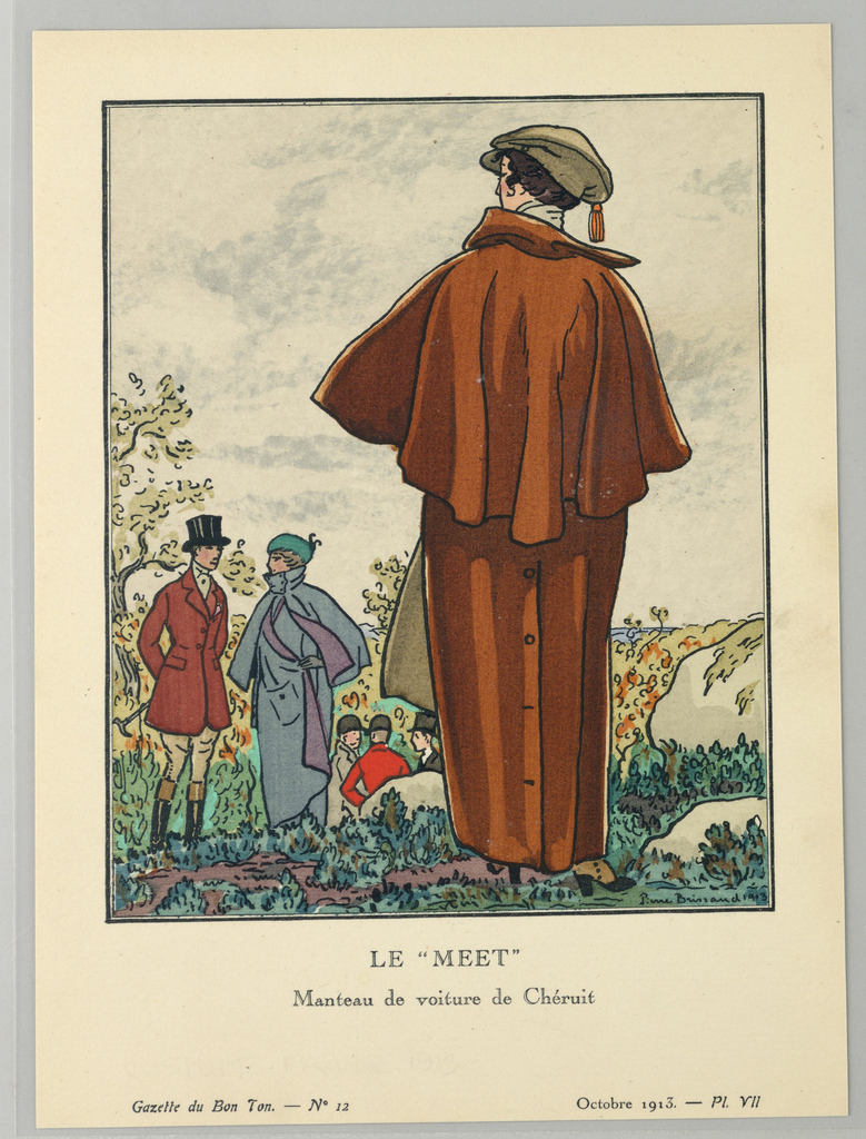 Outdoor scene, a figure of a woman stands in a full-length caped chesnut colored riding coat with buttons along the skirt for mobility, viewed from behind.  A  large orange tassle hangs to the side of her tan-colored hat with front brim.  The woman overlooks a rocky field filled with men and women wearing riding gear. At lower left, a man and woman meet, the man in riding pants, boots, red coat, and black top hat; the woman in a full-length caped blue coat and green hat.