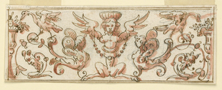 A symmetrical grotesque frieze with caryatids and birds.