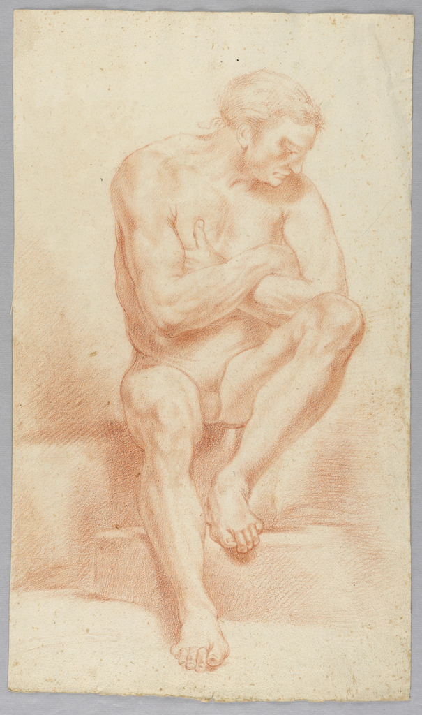 Figure shown from the front, seated. The left foot stands upon a step. The arms are crossed. The head is lowered and turned towards the left shoulder.