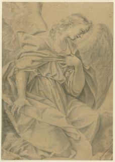 A kneeling angel faces half right, with left hand resting on breast.