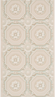 Coffered effect with brown octagons enclosing white rosettes in the center. Background color is green with taupe flowers and scrolls placed between octagons on a taupe ground.