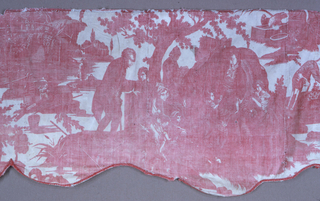 Shaped valence of white cotton, plate printed in red, now faded. Lined with plain white cotton, bound with red cotton.