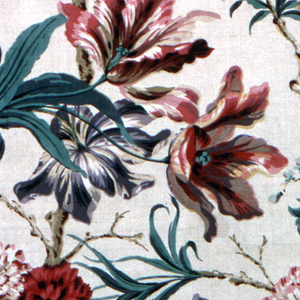 Design of oversized flowers, tulips and roses in shades of red, blue and greens.
