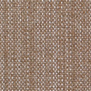 Plain weave with a tan and white warp and tan weft. Warp is comprised of fine lightweight threads while the weft is a coarsely woven heavier yarn. The two colors of the warp produce a subtle vertical stripe effect.