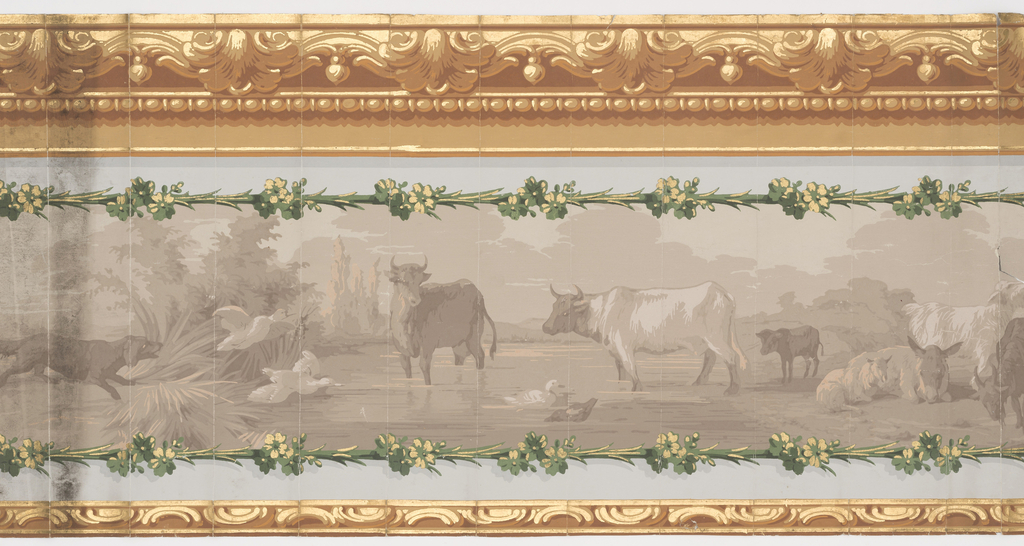 Grisaille design of cattle in a river scape with a chasing geese, architectural molding at either edge.