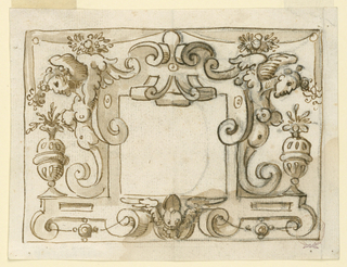 Strapwork with harpies and floral vases frame a square panel at center.