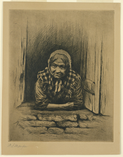 Vertical rectangle.  An old woman leans out of a window facing fontally. The wall below is stone; the shutters are open.  She wears a white cap and checkered shawl.