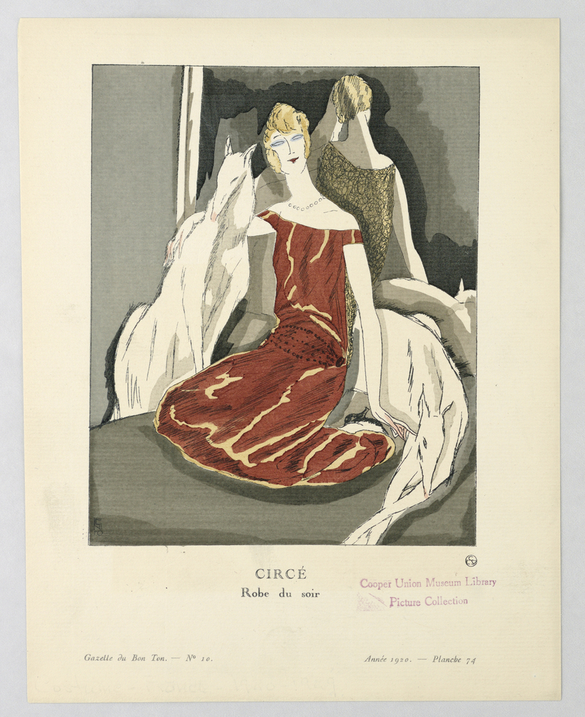 The caption reads: Circé / Rober du Soir.  Center a woman sits on the floor of a dark room with two domestic animals-possibly dogs. She wears a red off the shoulder evening dress with lace-like back, beaded necklace, and belt that sits at her hips.