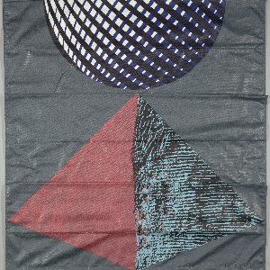Three lengths of printed fabric with organic and geometric forms each designed to be displayed in different positions.