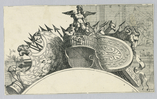 Winged figure at center with armaments and shields at eith side all above a curved arch..