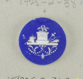 Three circular medallions in the style of Wedgwood Jasperware; ornamented with pedestal, love birds, bow, arrows in quiver, musical instruments, staff, etc. white on blue ground.