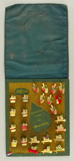 "Upright rectangular card covered in a green felt and cut out of leaf with straw-like material.  A green border is along the edge of the board.  24 buttons varied in pink and yellow are attached to the board; 8 buttons are flowered pots, 8 buttons are shovels with flowers, and 8 buttons are wheel barrels with flowers. printed on top left corner is La Mode [logo]; printed in center of leaf ""Planting Time""/ ""by Marion Weeber""."