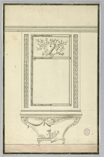 Elevation of a console table and pier glass. Scrolling base with musical trophy and basket of flowers. The sides of glass have narrow candelabrum motif at left and guilloche at right. In tablet at top center: a trophy.