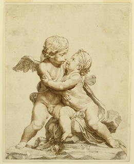 Drawing, Two Cupids Kissing