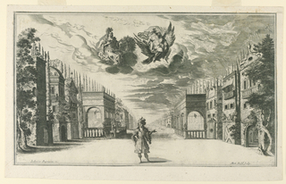 Horizontal rectangle. A single figure is seen in the center front of the stage. Houses and gardens at either side, and a broad vista in the center. Jupiter and Juno on a cloud. Below, artists' names.