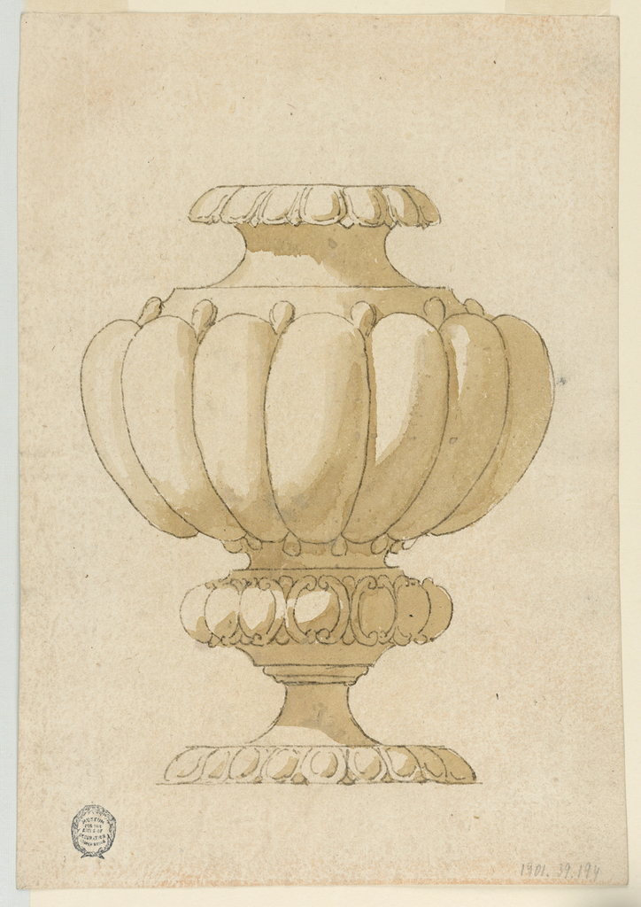 Vertical rectangle showing a vase with gadrooning.