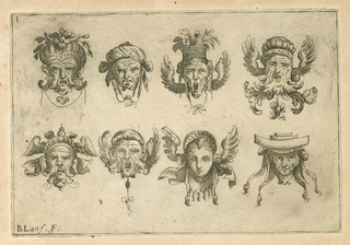 Horizontal rectangle. Eight grotesque heads in two rows with fantastic head-dresses.
