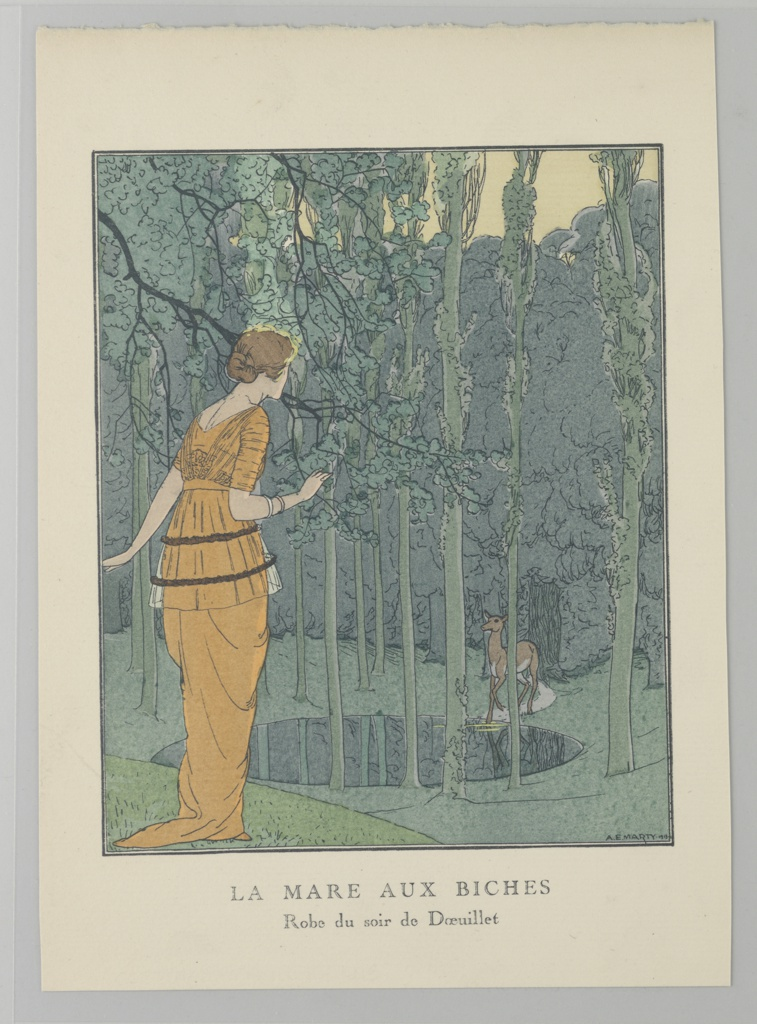 """The caption reads: La Mare Aux Biches (The Hen Pond).  A woman in an orange Georges Doeuillet gown peers across a pond at a deer in a dense green forest. The caption reads: """"LA MARE AUX BICHES / Robe du soir de Doeuillet."""""""