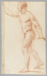 Obverse: a young man shown walking toward right with the lowered left arm stretched out and with the right arm raised. The right forefinger is not shown. Reverse, in opposite direction: a young man hurrying toward left. The left arm is lowered, the right arm is raised. The right hand and the points of some of the fingers of the left hand are not shown.