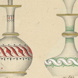 Recto: six designs for bottles with stoppers, each with style written below; Verso: designs for six other bottles with stoppers, numbered below.