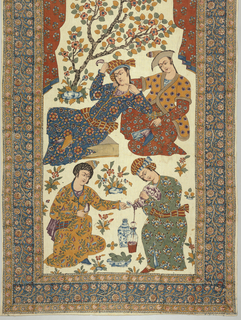 Vertical panel with large colored scene. A flowered curtain drapes across the top over a wine party with four large figures in flowered robes. Small flowering tree on the edge of a pool on the upper left side. Ground scattered with small flowering plants. In deep blue, rust, dark purple, deep golden yellow, flesh tones and dark brownish blue in black outlines on undyed ground. Wide scrolling floral border on blue ground with narrower floral borders above and below on yellow ground. Undyed band across top with floral repeats.