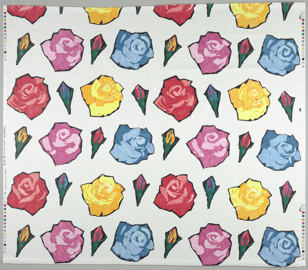 Stylized flowers alternating buds with flowers in full bloom.  Red, pink, yellow and blue printed on white.