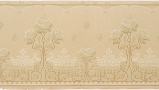 Design of roses linked by flowing and intertwining stems. Background has thick lines that intertwine to create medallion forms. Top border edged with simplified rinceau. Background stipled and has small lines creating texture. Printed in shades of green on a tan background.